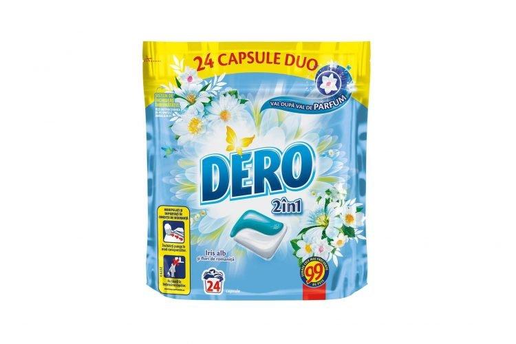 Detergent automat capsule Dero Duo Caps Iris alb, 24 spalari, 24 buc