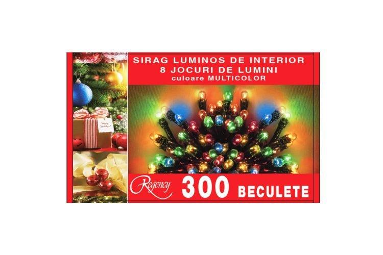Instalatie de Craciun tip sirag 300 mini beculete, 8 jocuri de lumini, multicolor
