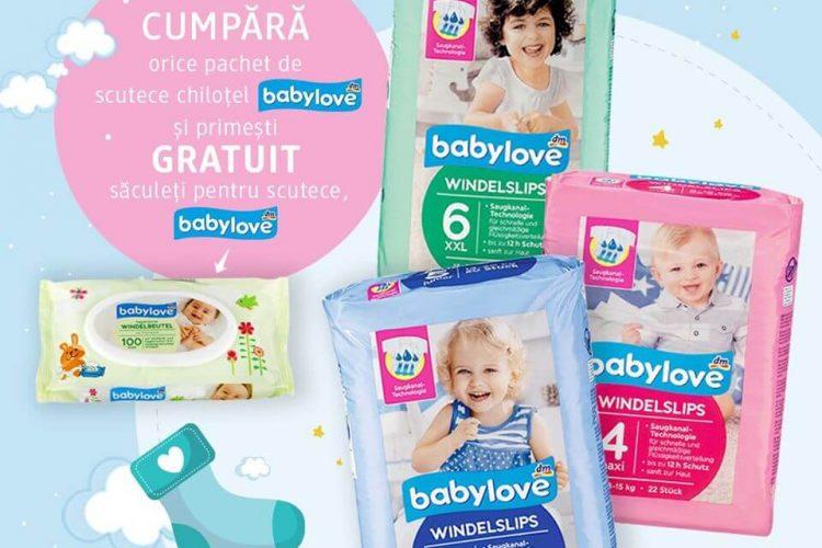 Promotie dm drogerie markt: pachet de scutece chilotel babylove + pachet de saculeti pentru scutece GRATUIT