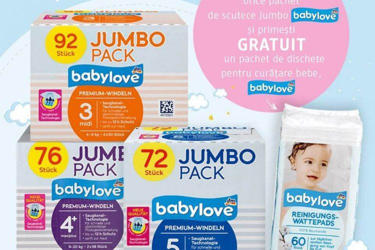 Promotie dm drogerie markt: pachet de scutece Jumbo babylove + pachet de dischete pentru curatare bebe GRATUIT