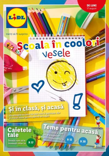 Catalog Lidl 17 august - 30 august 2020 Scoala in culori vesele