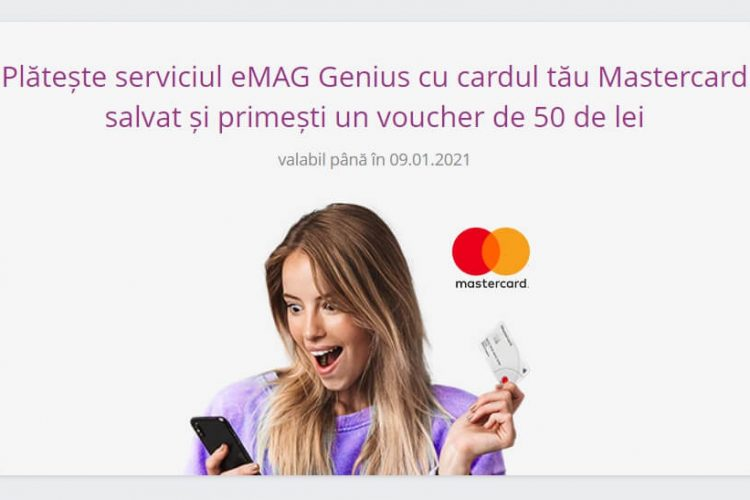 Voucher eMAG - Plateste serviciul eMAG Genius cu cardul tau Mastercard salvat si primesti un voucher de 50 de lei