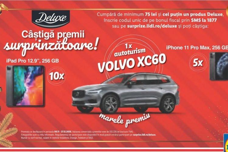 Lidl Deluxe - Castiga premii surprinzatoare - iPhone 11 Pro Max, iPad Pro, autoturism Volvo XC60