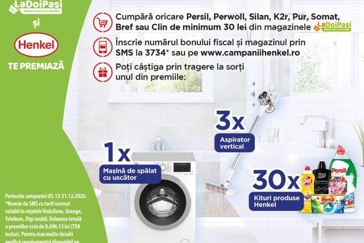 LaDoiPasi - Mai mult produs la pret redus - Castiga o masina de spalat cu uscator, un aspirator vertical sau kituri de produse Henkel!
