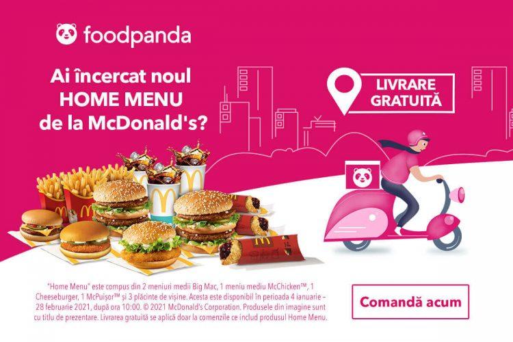 Voucher foodpanda - livrare gratuita la Home Menu de la McDonald's