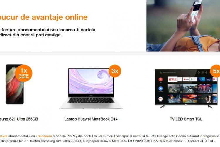 Orange - Ma bucur de avantaje online - Castiga un telefon Samsung S21 Ultra, un laptop Huawei MateBook sau un televizor LED Smart UHD TCL!