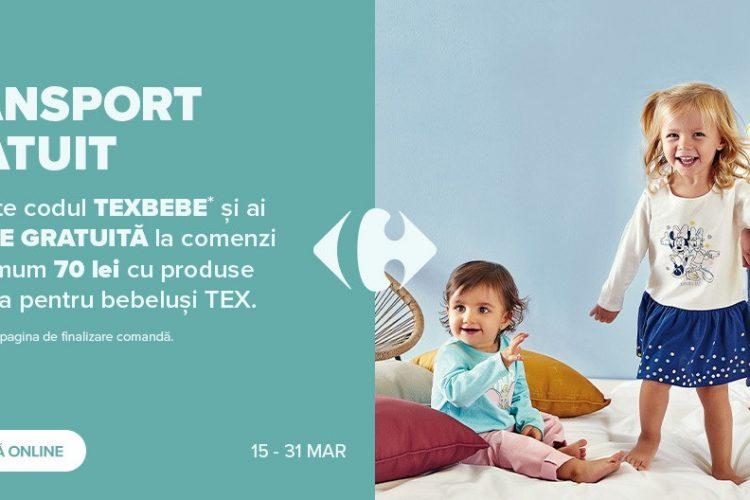 Voucher Carrefour TEX - Transport gratuit pentru produse din gama pentru bebelusi