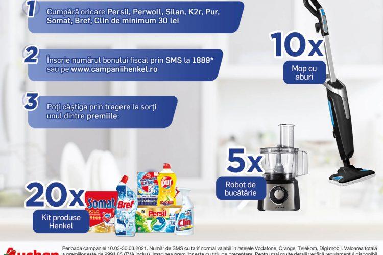 Auchan - Sa inceapa curatenia de primavara - Castiga un kit produse Henkel, un mop cu abur Rowenta sau un robot de bucatarie Bosch!