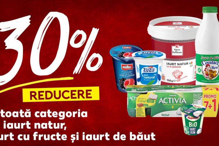 Kaufland Reducerea zilei 7 aprilie: 30% la toata categoria de iaurt natur, iaurt cu fructe si iaurt de baut