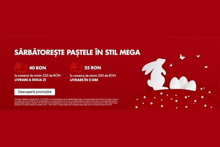 Voucher Mega Image - Paste 2021 - Voucher de 25 sau 40 lei la cumparaturi online