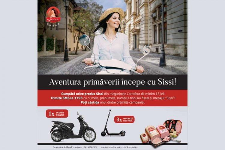 Carrefour - Aventura primaverii incepe cu Sissi! Castiga o trotineta electrica sau un scuter Piaggio!