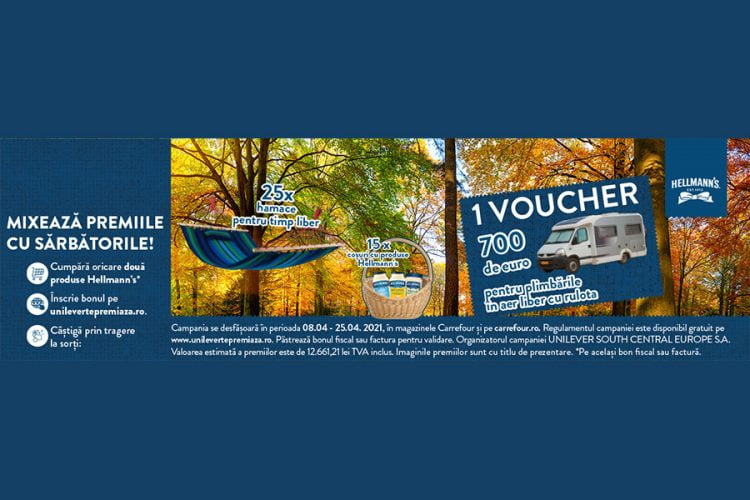 Carrefour - Hellmann's: mixeaza premiile cu sarbatorile - Castiga un voucher pentru plimbari cu rulota, un hamac sau cosuri cu produse Hellmann's!