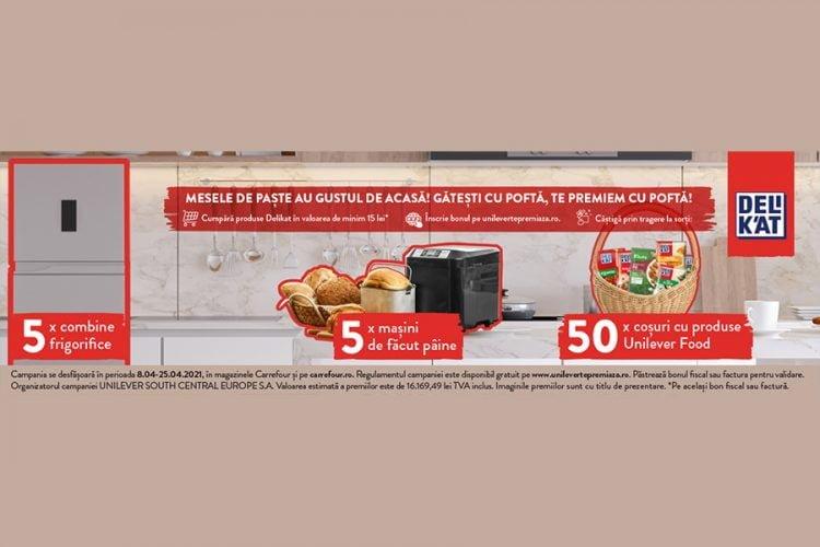 Carrefour - Mesele de Paste au gustul de acasa cu Delikat - Castiga o combina frigorifica, o masina de facut paine sau cosuri cu produse Unilever Food!