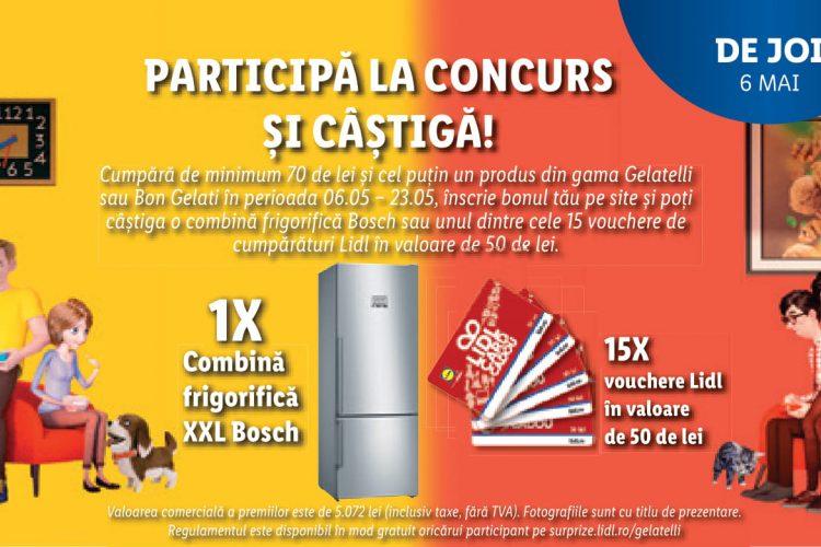Lidl - Gelatelli - Cate gusturi, atatea inghetate - Castiga o combina frigorifica XXL Bosch sau un voucher de cumparaturi Lidl!