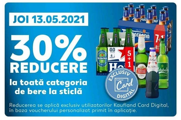Kaufland Card Digital Reducerea zilei 13 mai: 30% la toata categoria de bere la sticla