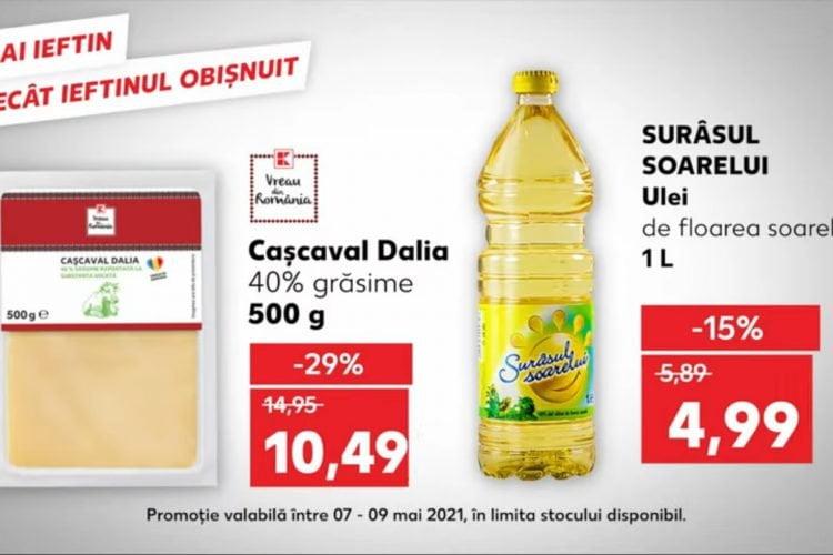 Kaufland - Oferta de weekend 7 mai - 9 mai 2021: ulei de floarea soarelui, cascaval si hrana uscata pentru caini