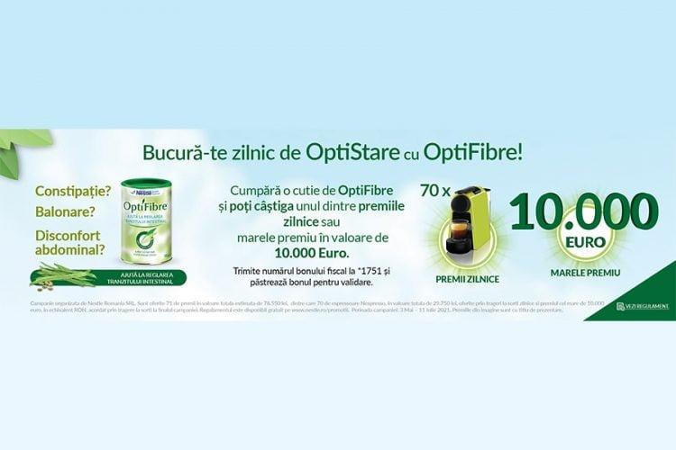 Bucura-te zilnic de OptiStare cu OptiFibre! Castiga un aparat automat pentru cafea Nespresso sau marele premiu 10000 euro!
