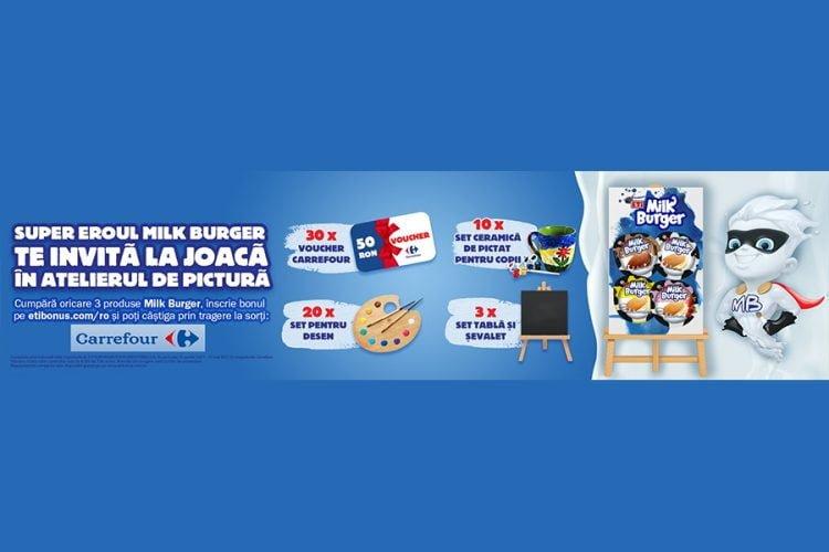 Carrefour - Supereroul Milk Burger Te Invita La Joaca In Atelierul De Pictura - Castiga o tabla si sevalet din lemn, un set ceramic de pictat, un set pentru desen sau un voucher cadou Carrefour!