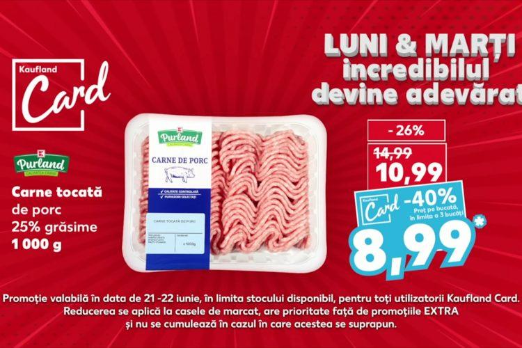 Oferta Kaufland din 21-22 iunie 2021: carne tocata, paste si detergent capsule