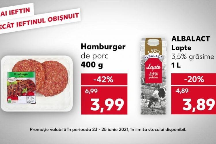 Oferta Kaufland din 23-25 iunie 2021: lapte, hamburger si suc de portocale