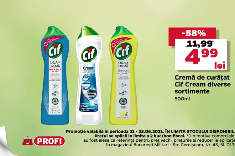 Oferta Profi 21 iunie - 23 iunie 2021 - Crema de curatat Cif Cream