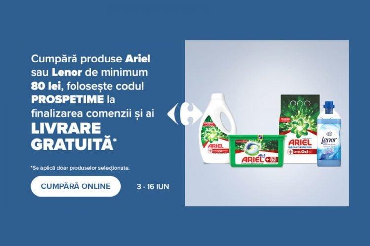 Voucher Carrefour - Livrare gratuita Ariel & Lenor 3-16 iunie 2021