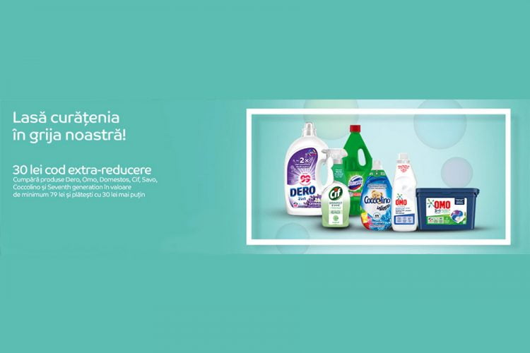 Voucher eMAG - 30 lei reducere la produse Dero, Omo, Domestos, Cif, Savo, Coccolino si Seventh generation