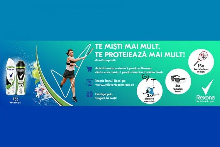 Carrefour - Te misti mai mult te protejeaza mai mult cu Rexona - Castiga o racheta de tenis Wilson, ochelari smart sau o bicicleta mecanica!