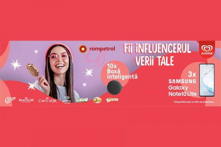 Rompetrol - Fii influencerul verii tale cu Algida - Castiga un Samsung Galaxy Note 10 Lite sau o boxa inteligenta!