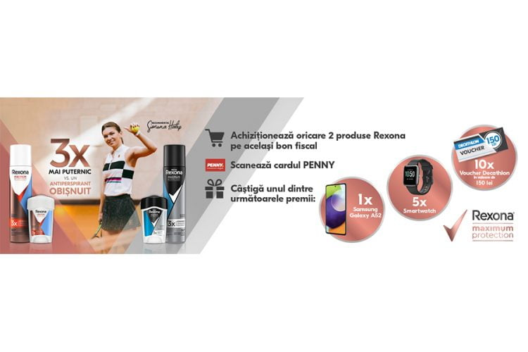 Penny - Rexona Maximum Protection - Castiga un voucher Decathlon, un smartwatch sau un telefon Samsung Galaxy A52!