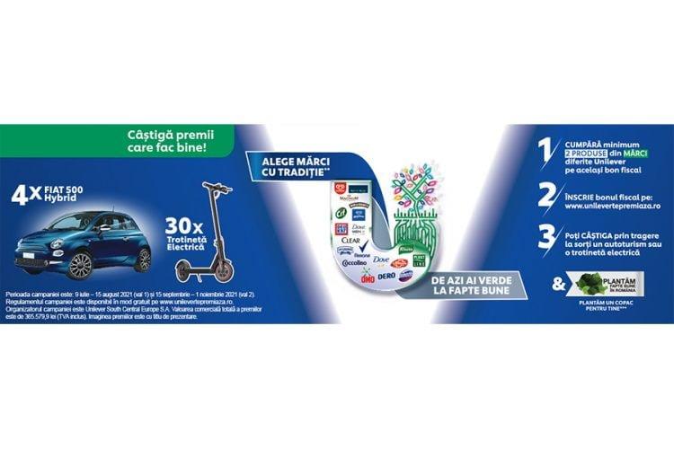 Unilever - De azi ai verde la fapte bune - Castiga un Fiat 500 Hybrid sau o trotineta electrica!