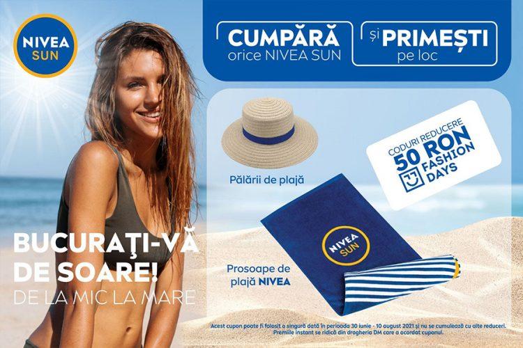 dm drogerie markt - Castiga cu NIVEA SUN in dm: o palarie de plaja, un prosop de plaja sau un voucher Fashion Days!