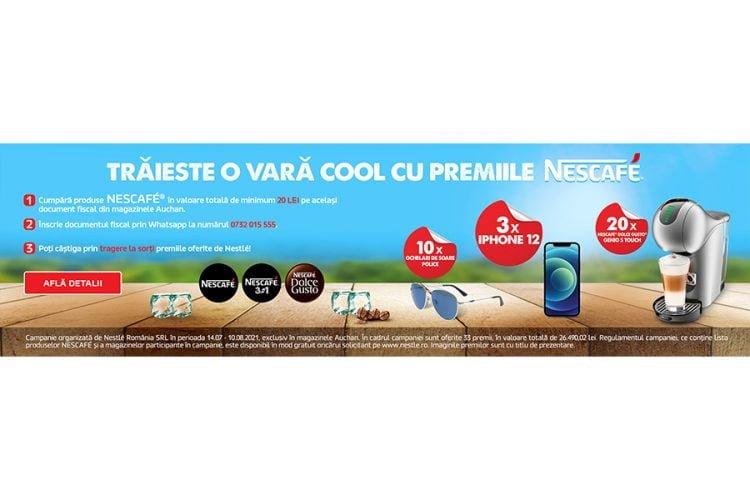 Auchan - Traieste o vara cool cu premiile NESCAFE! Castiga ochelari de soare Police, iPhone 12 sau Nescafe Dolce Gusto Genio's Touch!