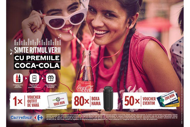 Carrefour - CokeScan - Simte ritmul verii cu premiile Coca-Cola - Castiga un voucher outfit de vara, o boxa Hama sau un voucher Eventim!