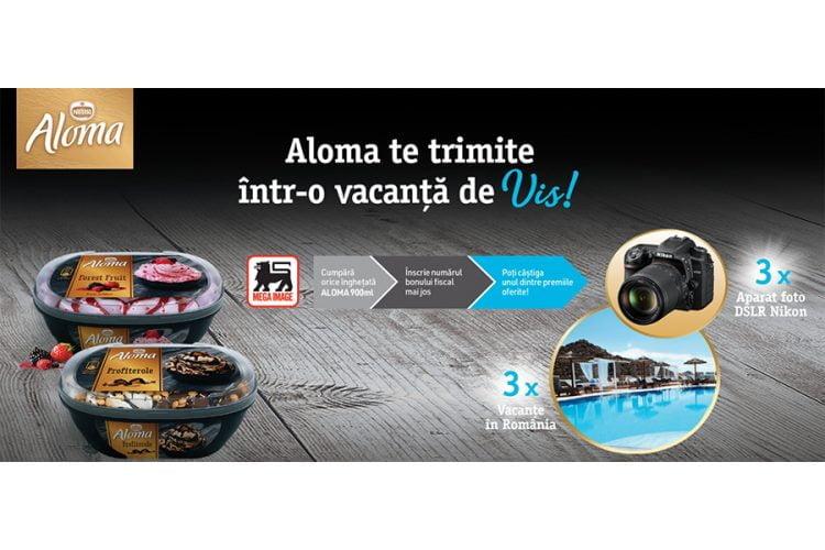 Mega Image - Aloma te trimite intr-o vacanta de vis! Castiga un aparat foto DSRL Nikon sau o vacanta in Romania!