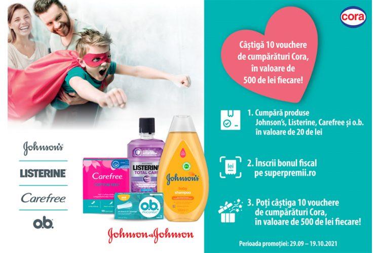 Cora - Cumpara produse Johnson's, Listerine, Carefree si o.b. si castiga vouchere de cumparaturi!