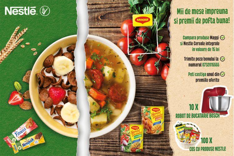 Cora - Maggi - Nestle - Mii de mese impreuna si premii de pofta buna! Castiga un robot de bucatarie Bosch sau un cos cu produse Nestle!