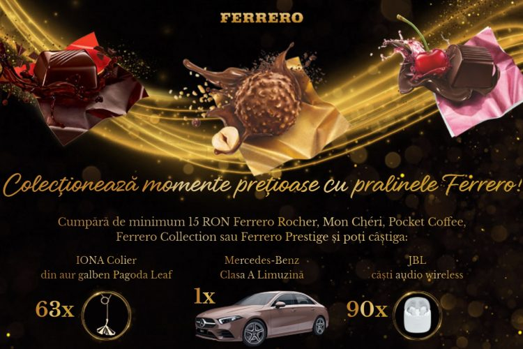 Ferrero Rocher - Colectioneaza momente pretioase cu pralinele Ferrero - Castiga un Mercedes-Benz Clasa A limuzina!
