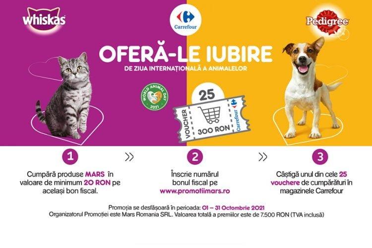 Carrefour - Mars - Ofera-le Iubire de ziua internationala a animalelor - Castiga un voucher de cumparaturi!