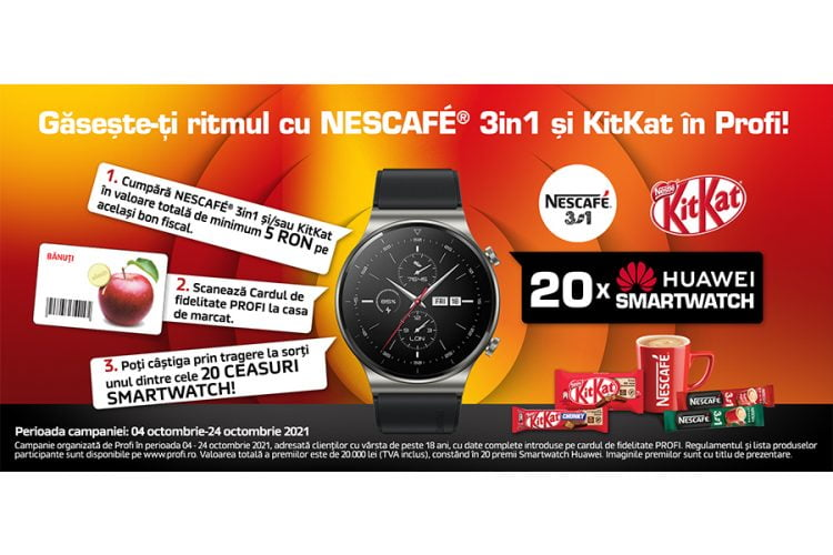 Profi - Gaseste-ti ritmul cu Nescafe 3in1 si KitKat in Profi! Castiga un smartwatch Huawei Watch GT 2 Pro!
